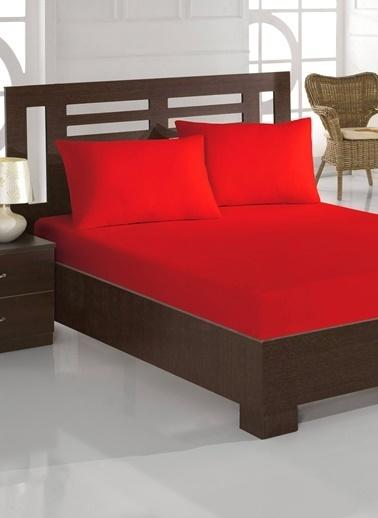 Eponj Home Çift Kişilik Lastikli Çarşaf&Yastık Kılıfı Seti Kırmızı